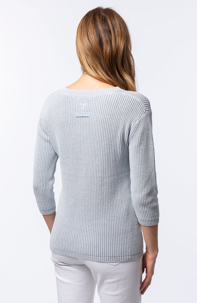 Cotton Mineral Wash V Neck Shaker Sweater