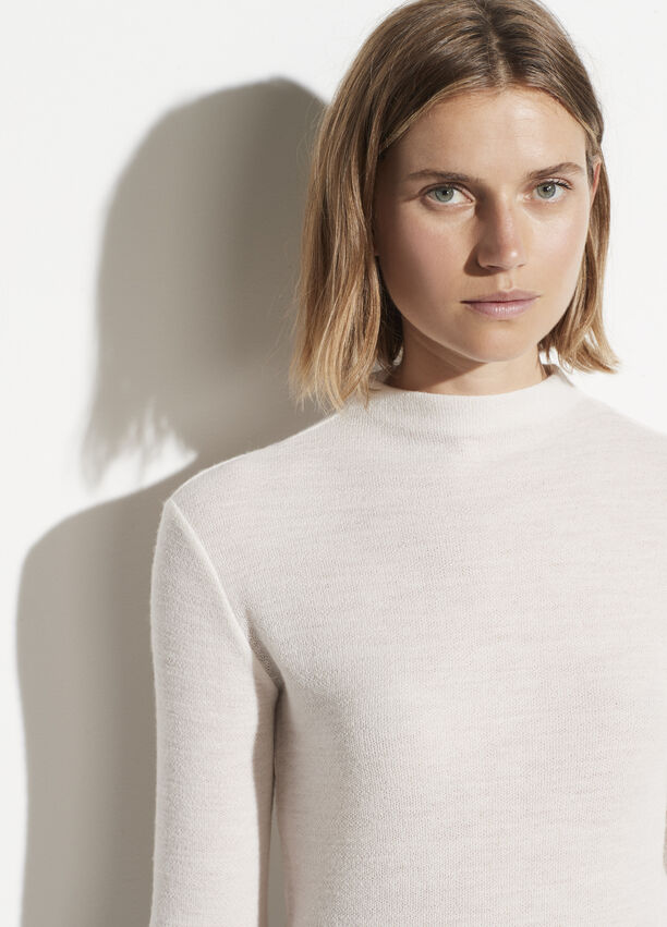 Vince Crepe Wool Funnel Neck Sweater