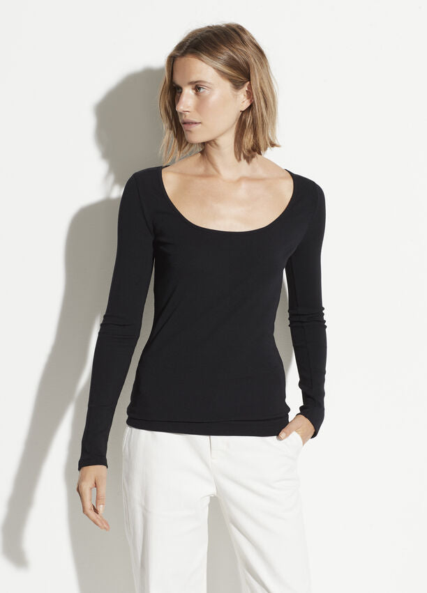 Vince Deep Scoop Long Sleeve Tee