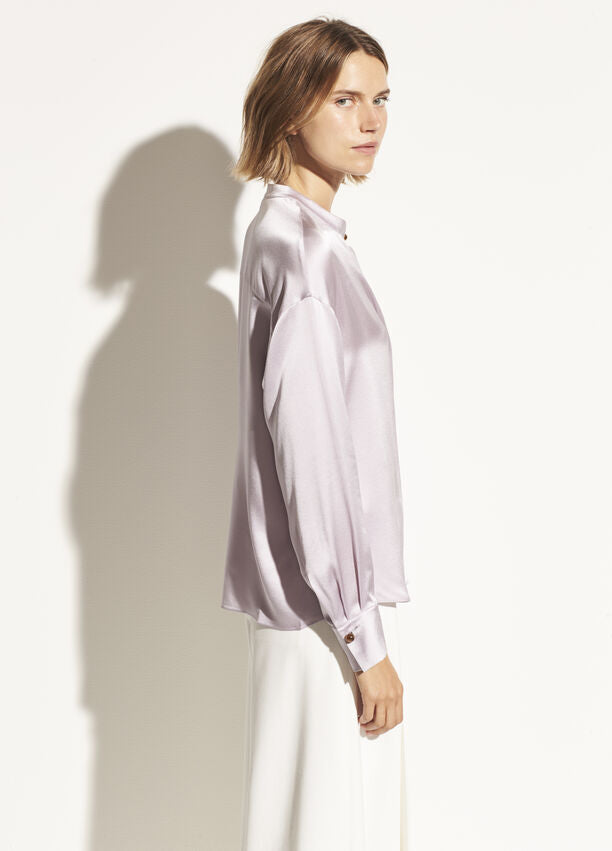 Vince Satin Long Sleeve Blouse