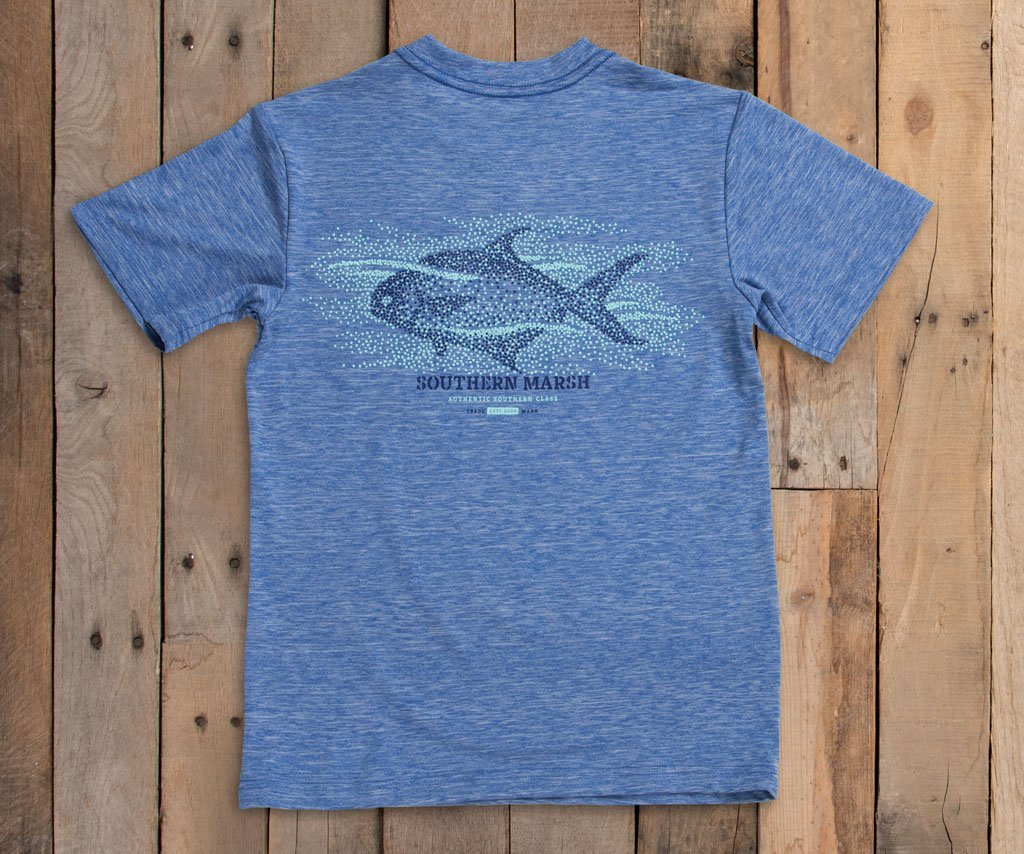 Oxford Blue Field Tec Performance Tee-Pompano