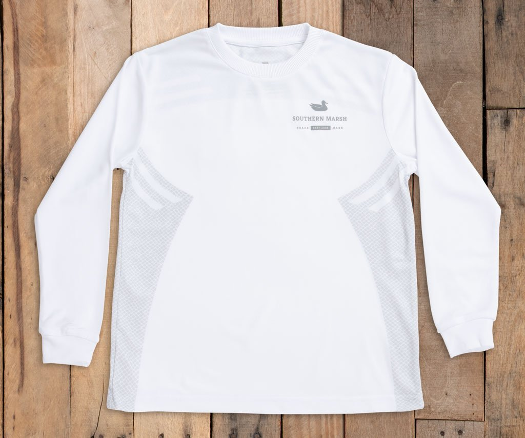 Youth White Field Tec L/S Performance Shirt