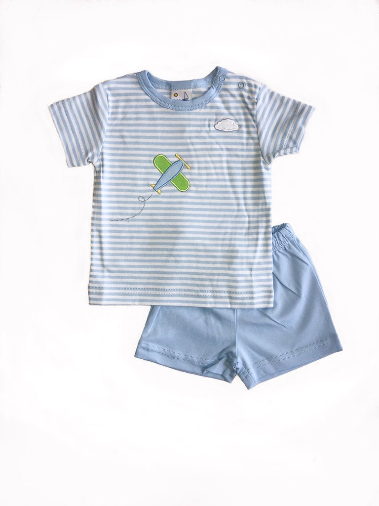 Blue Striped Short Set with Airplane