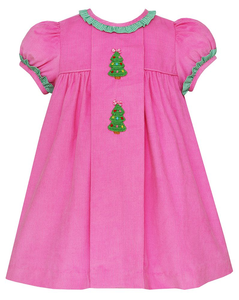 Pink Corduroy Dress w/Christmas Trees