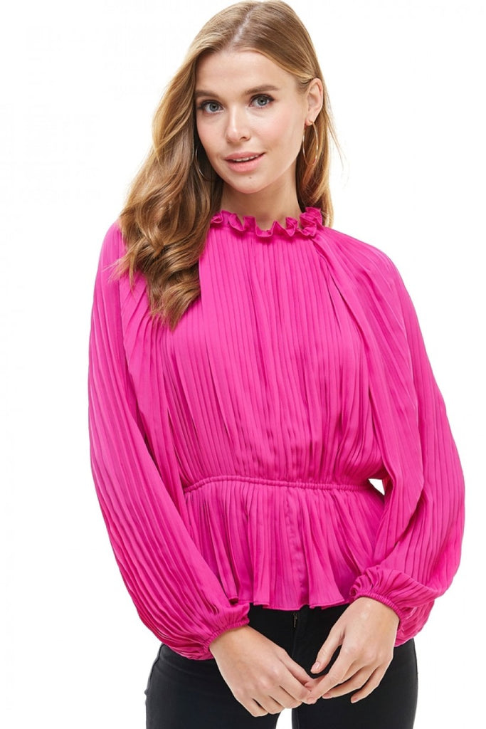 Accordion Style Ruffled round neck Bell Sleeve Top