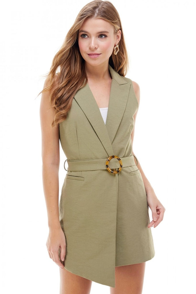 Sleeveless Belted Long Jacket/Top