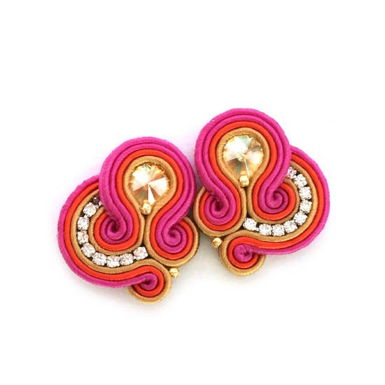 Soutache Crystal Stud Earrings