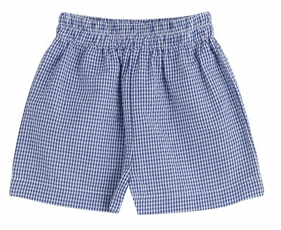 Navy Check Shorts