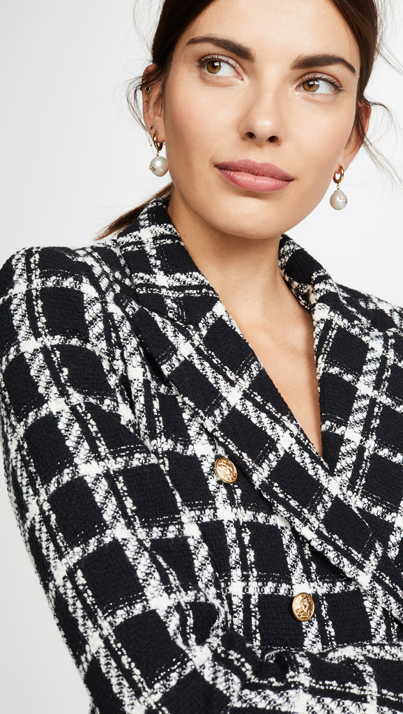 Cropped Double Breasted Tweed Blazer