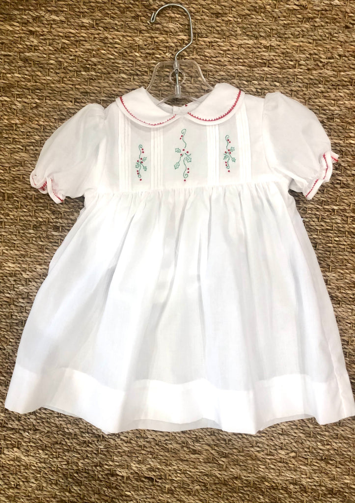 White Dress with Christmas Embroidery