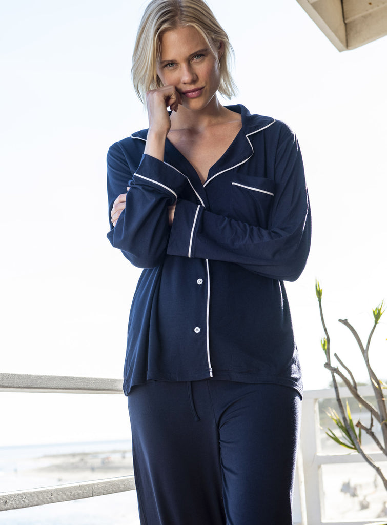 Luxe Milk Jersey Piped Pajama Set