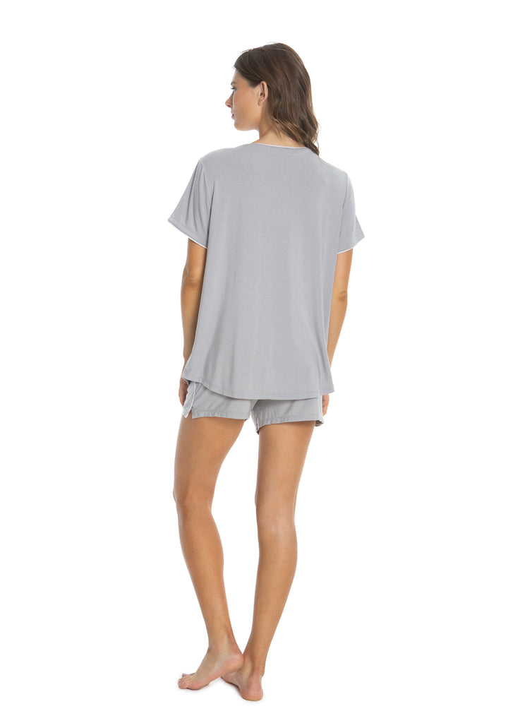 Luxe Milk Jersey Short Sleeve Piped PJ Set