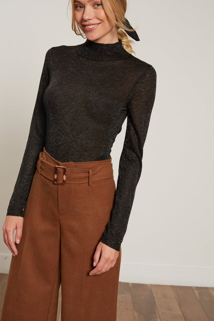 Mock Neck Sheer Shiny Knit Long Sleeve Top