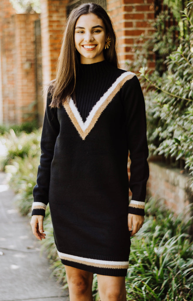 Varsity Sweater Turtleneck Dress
