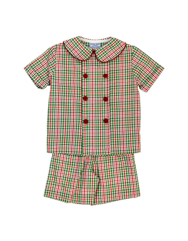 Mistletoe Plaid Dressy Boys short Set