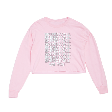 Spend It Long Sleeve Crop Top - Pink