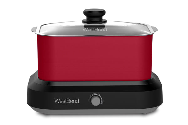 west-bend 6 Qt. Oblong Slow Cooker with Tote, Red Cooking.