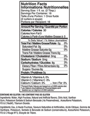 Jelly Belly Cotton Candy Syrup Nutrition Label