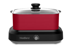 West Bend 5 Qt. Oblong Slow Cooker with Tote, Red