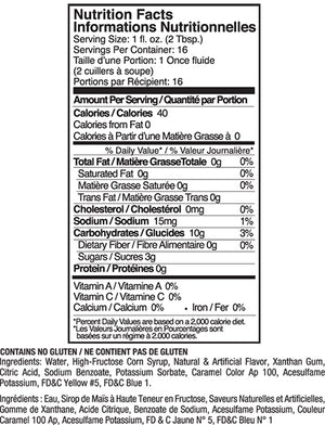 Jelly Belly Watermelon Flavor Syrup Nutrition Label