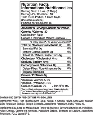 Jelly Belly Tangerine Syrup Nutrition Label