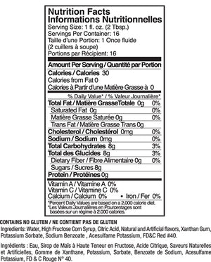 Jelly Belly Very Cherry Syrup Nutrition Label