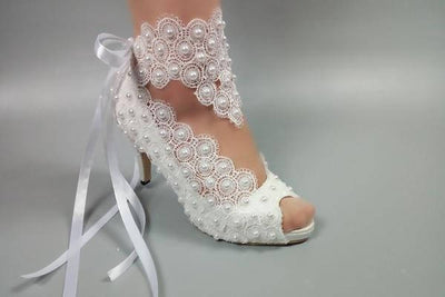 White Flower Style Beaded Wedding Shoes