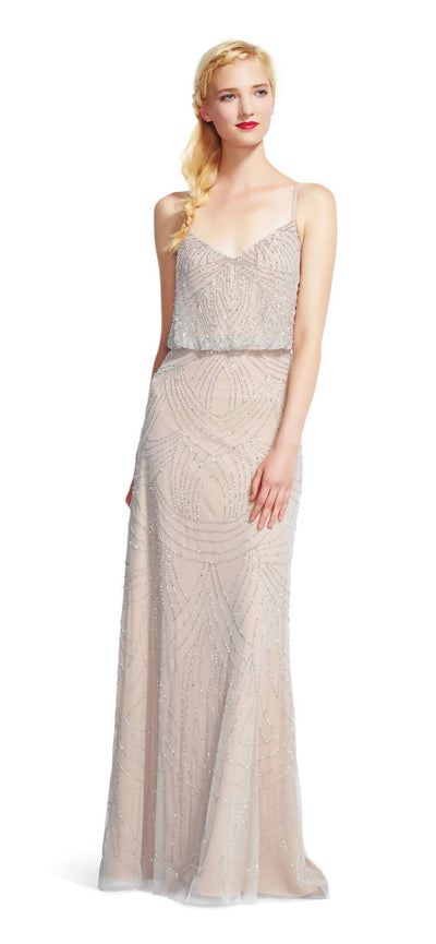 Adrianna Papell Beaded Blouson Gown Silver/Nude