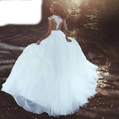 V-neck Elegant Chiffon Illusion Bridal Wedding Dress