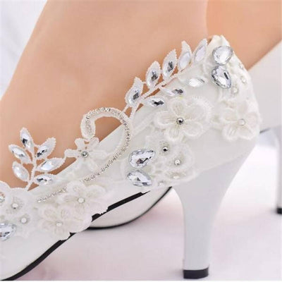 Crystal White Diamond Princess Wedding Shoes