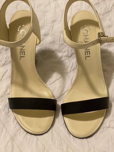 Chanel Open Toe Chunky Heel with Strap