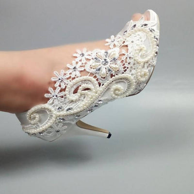 White Lace Wedding Shoes Peep Toe