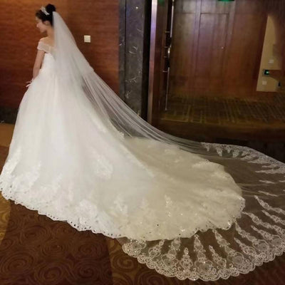 Ivory/White Bridal Veils Lace Edge Tulle Bling Sequins