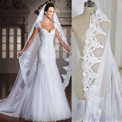 White/Ivory 3M Cathedral Length Lace Edge Bridal Veil With Comb