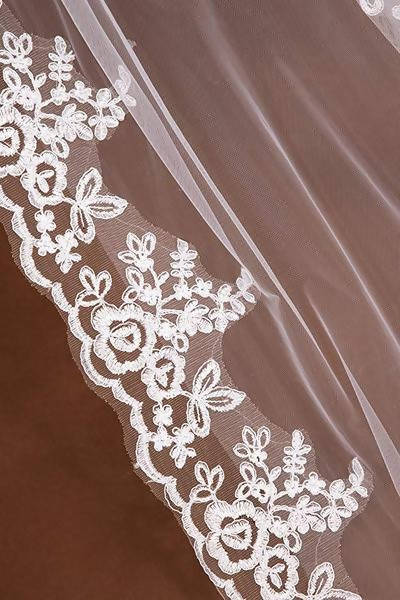 White/Ivory Cathedral Wedding Veil Lace Edge With Comb