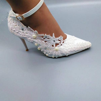 Crystal And Pearls Ankle Strap White Wedding Shoes