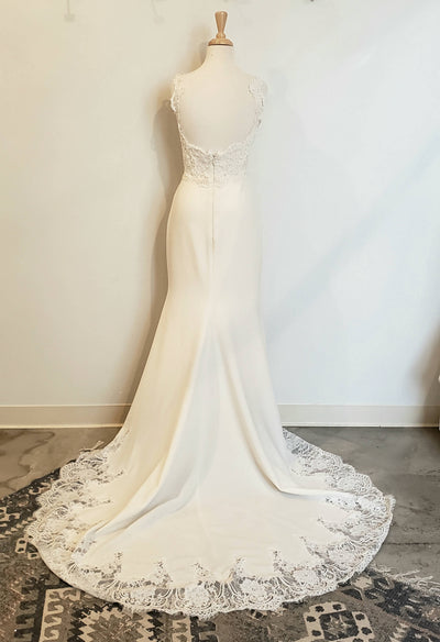 Lace Crepe Fit and Flair Wedding Dress