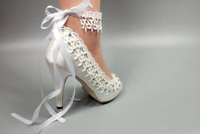 Lace Up Ankle Strap White Wedding Shoes