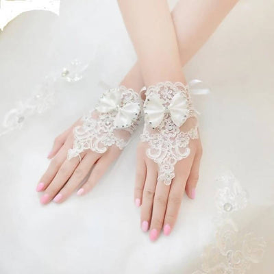 Elegant Lace Wedding Gloves Beaded With Bow