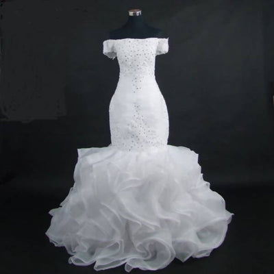 Boat-Neck Organza Ruffles Mermaid Wedding Dress