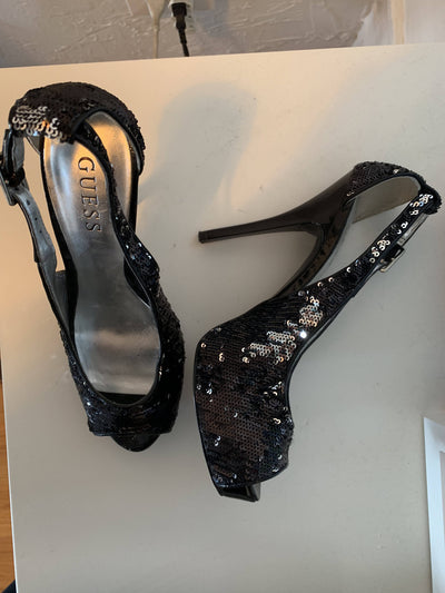 Black Sequin High Heel Shoes - Guess - Size 7M