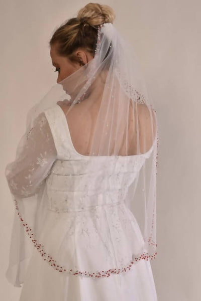 Wedding/Veil with hand placed red beads and Opal rhinestoneBeads and white opal and silver rhinestones