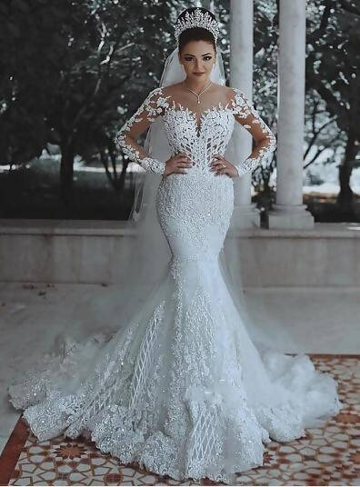 Floral Long Sleeve Lace See Through Back Wedding Dress
