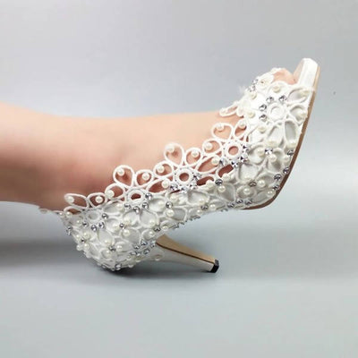 Peep Toe Lace White Pearl Wedding Shoes High Heels