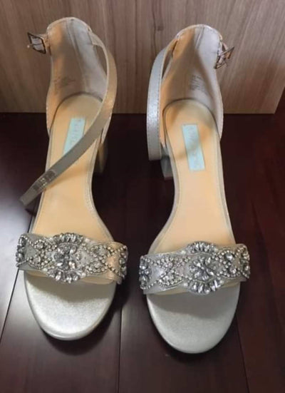 Blue by Betsey Johnson Silver Satin Shoes