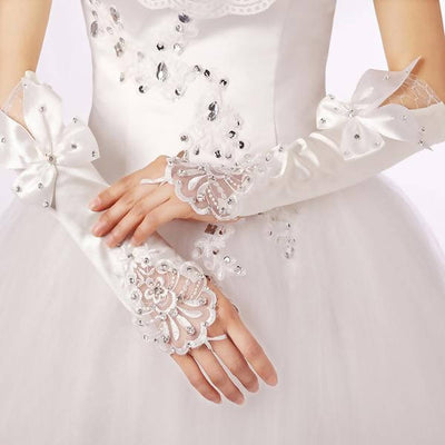 Fingerless Satin Long White Ivory Wedding Gloves