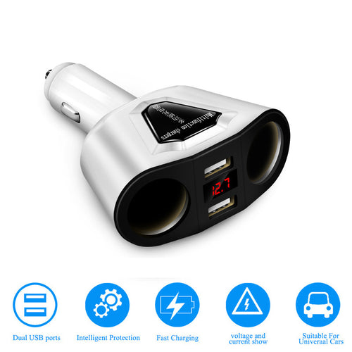 3.1A Dual USB Car Charger Adaptor With Voltage Current Display Charger Car Cup Holder 2 Sockets Cigarette Lighter