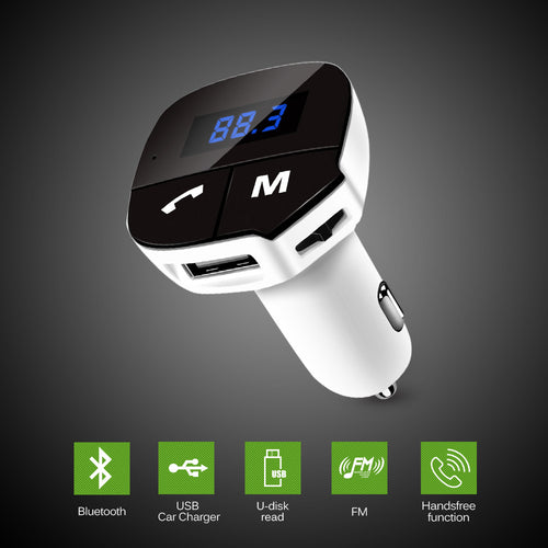 AOZBZ NEW FM Transmitter Hands-free Bluetooth Car Kit Wireless Mp3 Radio Modulator Audio Player USB Car Charger DC12-24V