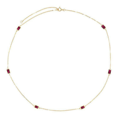 Baguette Stone Necklace Magenta | Urban Accessories NYC