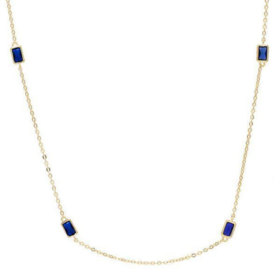 Baguette Stone Necklace Blue | Urban Accessories NYC